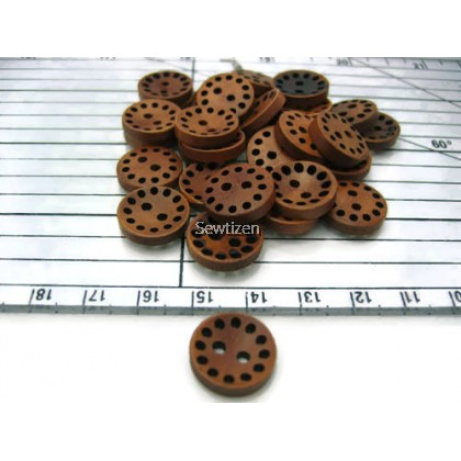BROWN WOOD BUTTON HOLES
